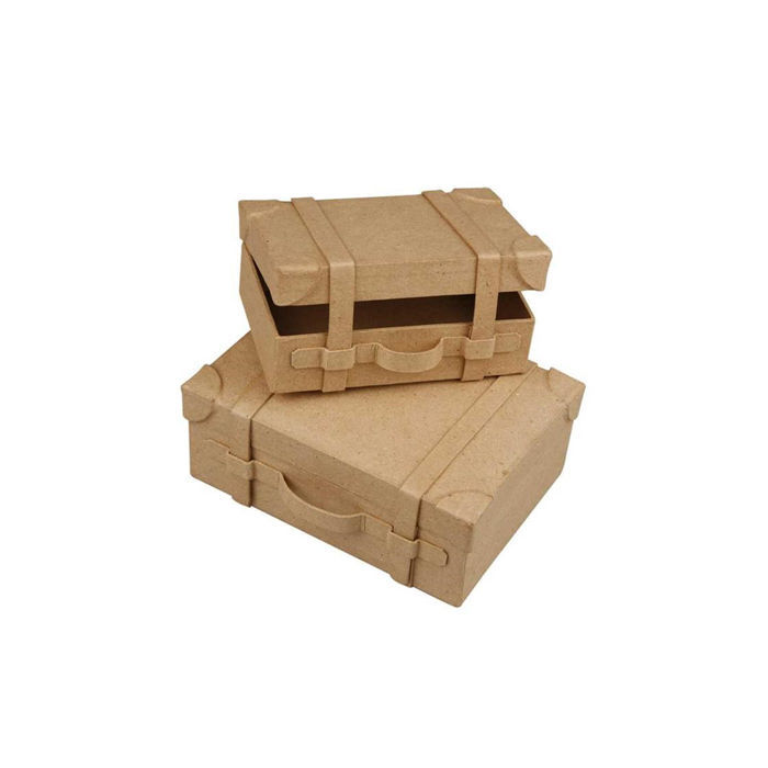 Nostalgie Koffer Set aus Pappmaché, 2 Stück - Alles aus Pappe ...