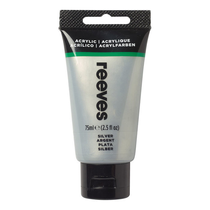 SALE Reeves Acrylfarbe 75 ml, Silber