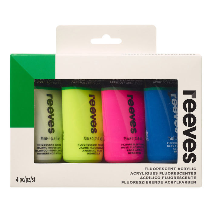 SALE Reeves Acrylfarben Fluo Set 2, 4x 75ml