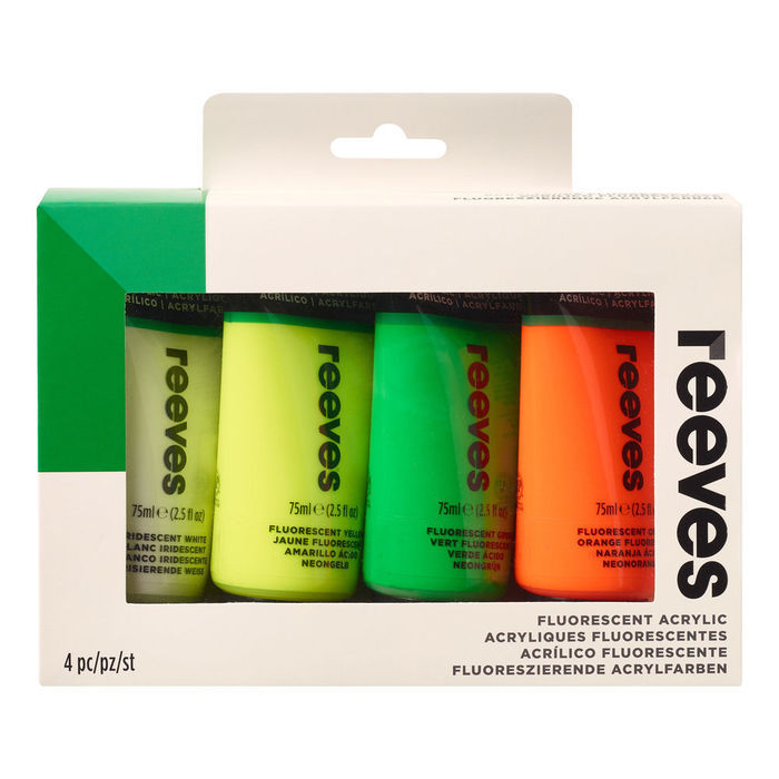 SALE Reeves Acrylfarben Fluo Set 1, 4x 75ml