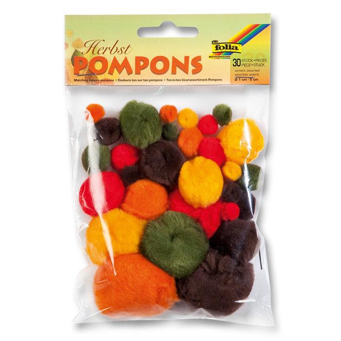 Sale Pompons 30 Stck Herbst Sortiert Pompons