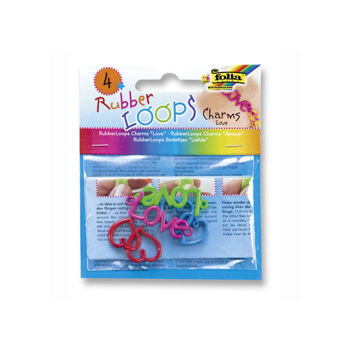 Rubber-Loops Charms LOVE, 4 Teile