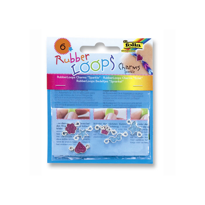 Rubber-Loops Charms SPARKLE, 6 Teile