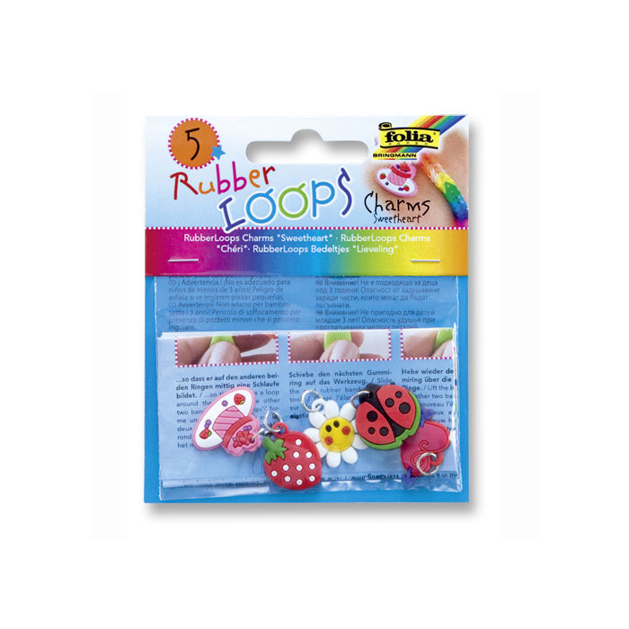 Rubber-Loops Charms SWEETHEART, 5 Teile