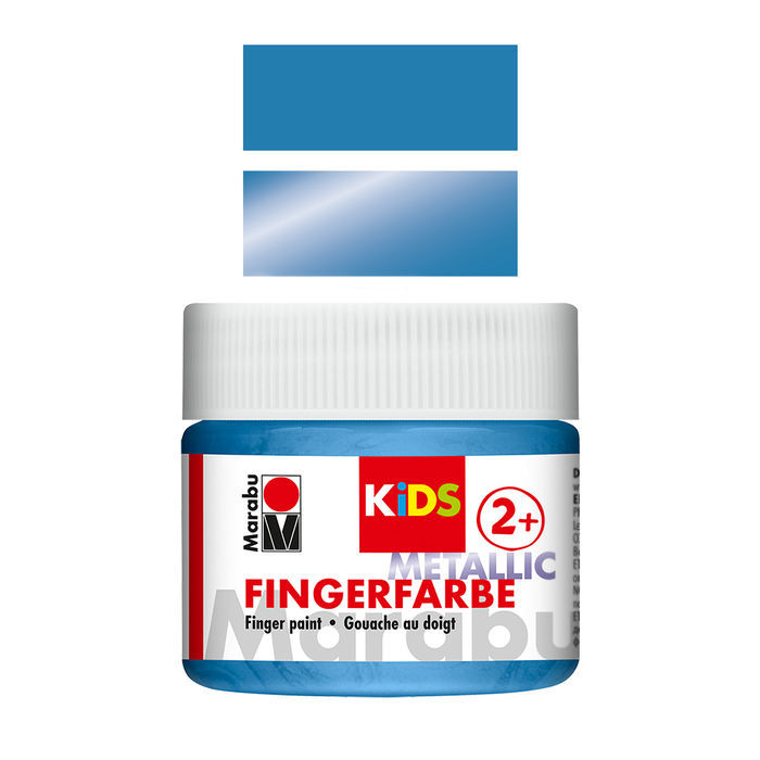 Marabu Kids Fingerfarbe 100ml, Metallic-Blau