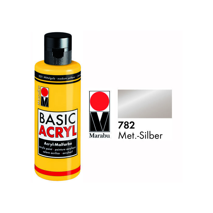 Marabu Basic Acryl Metallic 80ml, Silber