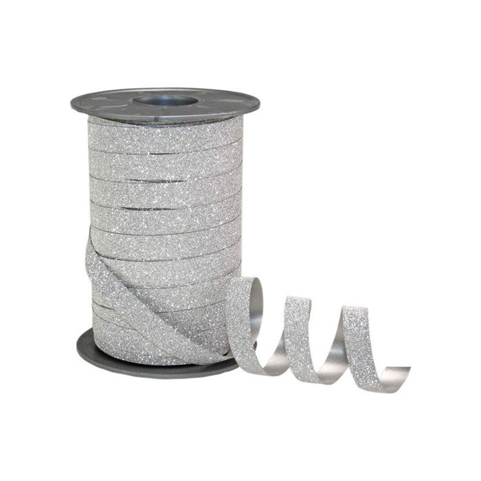 Poly Glitter Band Silber, 10mm x 100m