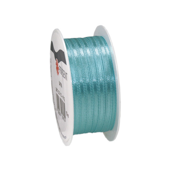 Satinband, B: 3mm L: 10m, Aquamarin