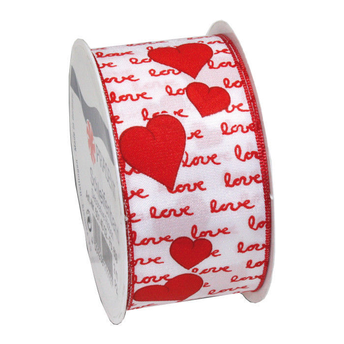 Amore Organzaband mit Draht, 4cmx2m, Weiß-Rot - Dekor- & Festbänder ...