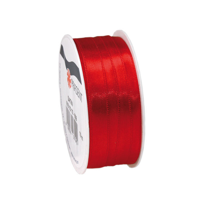Satinband, B: 10mm L: 10m, Rot