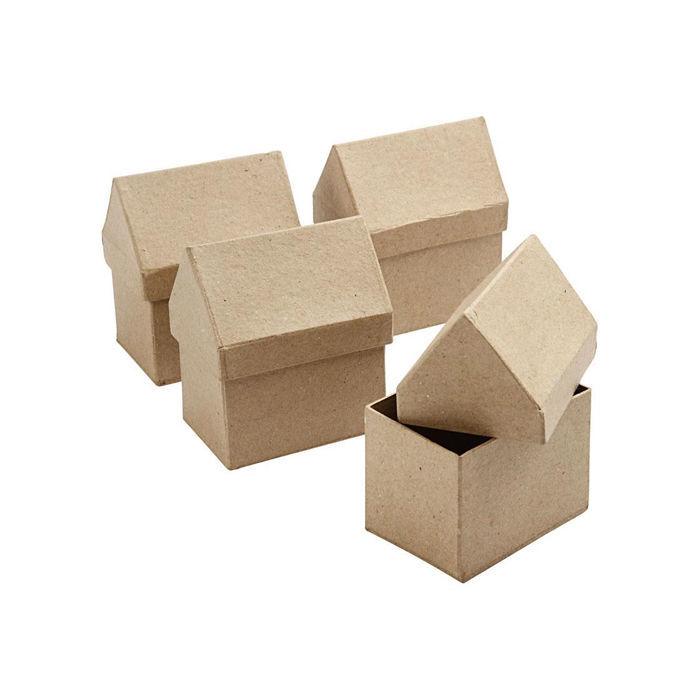 pappmach schachtel in hausform 1 st ck alles aus pappe karton basismaterial basteln. Black Bedroom Furniture Sets. Home Design Ideas