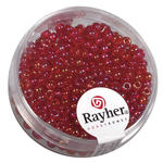 Rocailles, 2,6 mm �, transp., 17g, rot