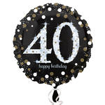 Folienballon Sparkling Birthday 40th, 45 cm