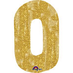 SALE Folienballon Gro�e Zahl 0 Gold Sparkle 55x88