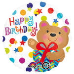 Folienballon Happy Birthday Bear Gift, 45 cm
