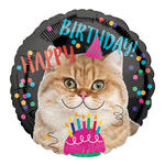Folienballon Happy Birthday Cat, ca. 45 cm