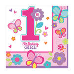 Servietten Sweet 1. B.day Girl 33x33cm 16 Stk