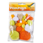 Pompons, 30 Stck., Ton in Ton Mix, Gelb