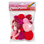 Pompons, 30 Stck., Ton in Ton Mix, Rot