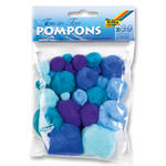 Pompons, 30 Stck., Ton in Ton Mix, Blau