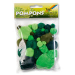 Pompons, 30 Stck., Ton in Ton Mix, Grün