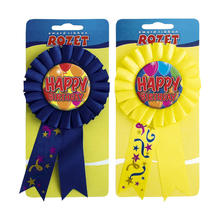 Rosette Happy Birthday Balloons gelb oder blau