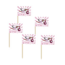 Party Picker Baby Girl mit Storch, rosa