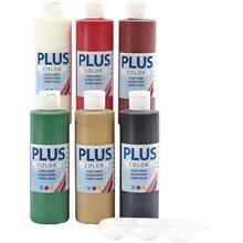 Plus Color Bastelfarbe 6x250 ml sort. Farben