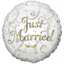 SALE Folienballon Just Married Goldschrift, 45 cm