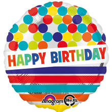 Folienballon Happy B.day Dots & Stripes, 45 cm