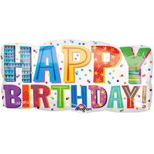 Folienballon Happy Birthday Type, ca. 83x40 cm
