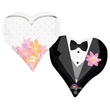 Folienballon Wedding Couple Hearts, 76x63 cm