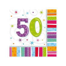 Servietten Radiant Birthday 50, 16 Stk.