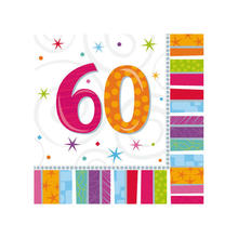 Servietten Radiant Birthday 60, 16 Stk.