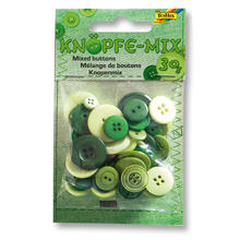 Knöpfe-Mix, 30 g, Ton in Ton Mix Grün