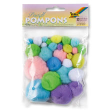 Pompons, 30 Stck., Pastell sortiert