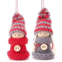 Winterkinder Figuren Set, 8 cm, Grau-Rot