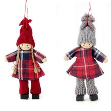 SALE Winterkinder Figuren Set, Boy & Girl Karo